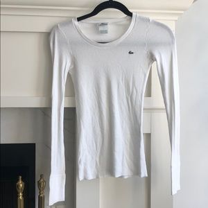 Lacoste- perfect cond. White long sleeve waffle